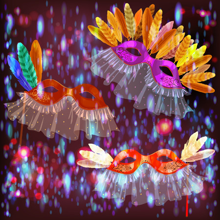 masquerade masks: Carnival masks with feathers and veil for masquerade on a dark background with bright sparks. Illustration
