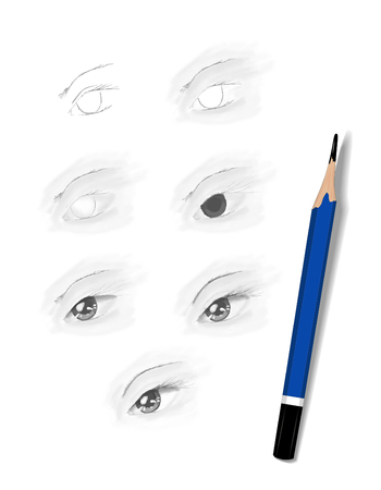 fantasize: Stages eye sketching pencil on white paper.
