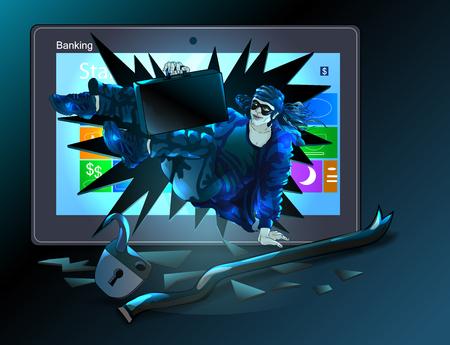 robo: Un hacker rompió ordenador, rompió la cerradura, robó caso secreto. Ilustración del vector. Vectores