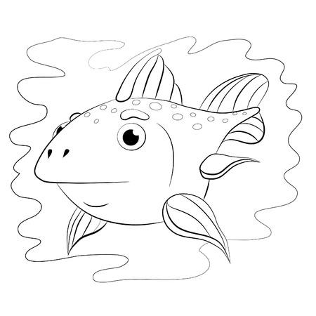 sedate: Cartoon little fish-moon. Coloring book.