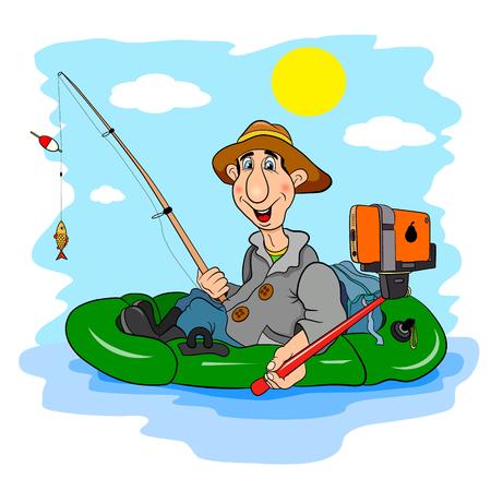 un p�cheur: Fisherman Cartoon, qui se photographier selfie