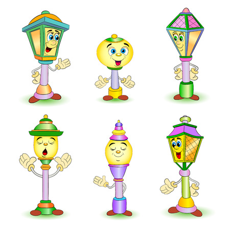 Cartoon set of different smiling street lamp and lantern.