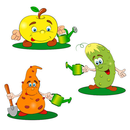 Funny gardeners with a watering can. Apple, cucumber and carrots are preparing for agricultural work. Stock Illustratie