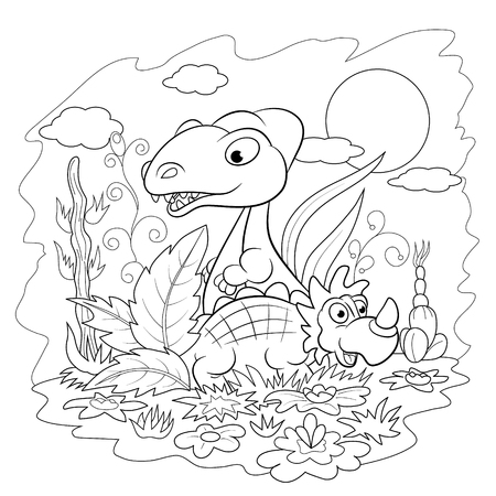 among: Two funny cartoon dinosaur among the flowers and plants. Coloring book.