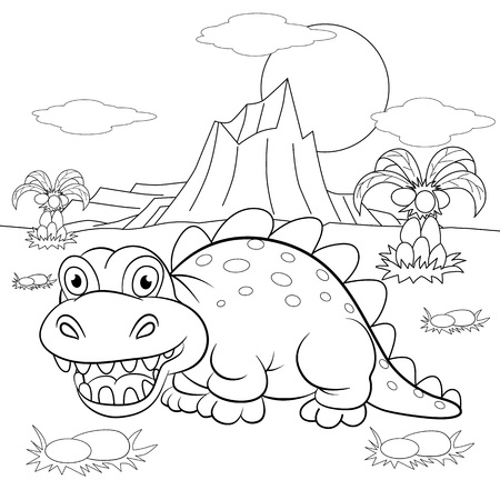 Coloring book. Funny dinosaur in a prehistoric landscape. Cartoon and vector isolated character on background.