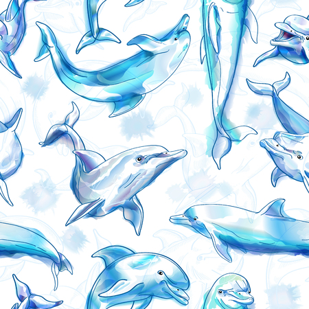 Seamless pattern. Dolphins. Imitation of watercolor. Vector illustration.