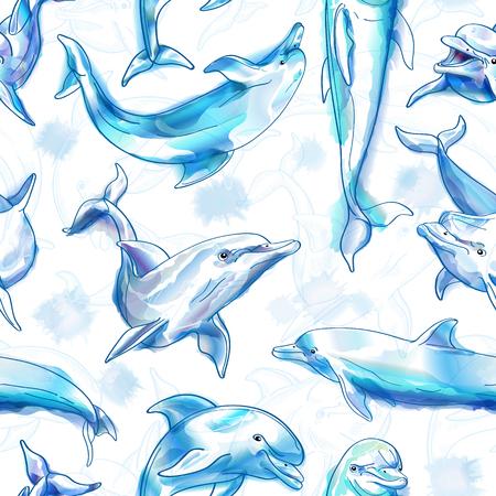 Seamless. Dauphins. Imitation de l'aquarelle. Vector illustration. Vecteurs
