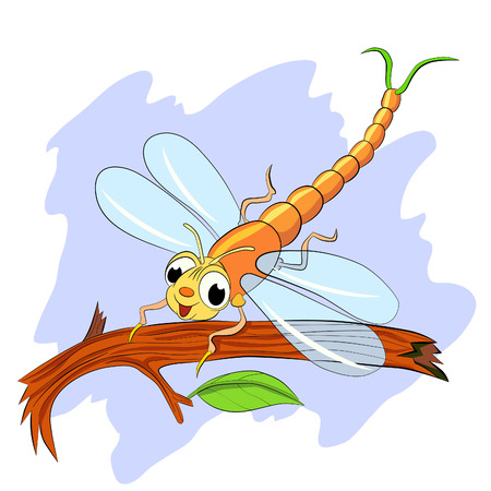 Funny cartoon dragonfly sitting on tree branch. Ilustracja