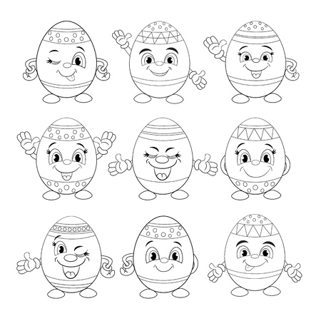 Cartoon set of different smiling eggs. Coloring book.