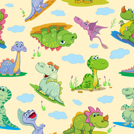 amusing: Seamless pattern with cartoon amusing decorative dinosaurs.