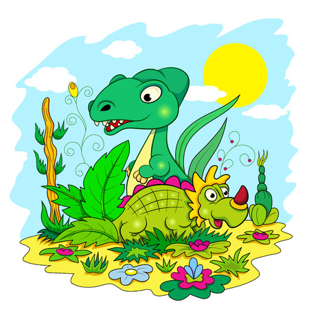 Two funny cartoon dinosaur among the flowers and plants.