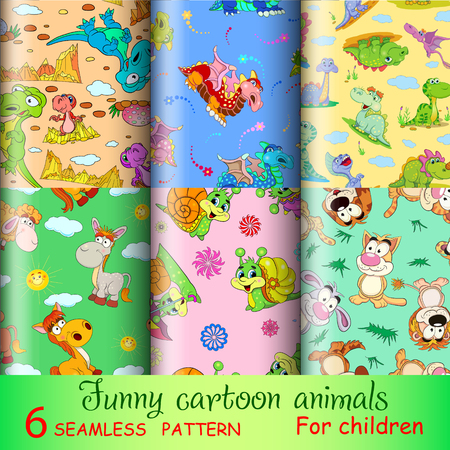 cartoon hare: Six seamless pattern with funny cartoon animals. You can use a texture for textile printing, packaging and gift paper, and also in their design work. Illustration