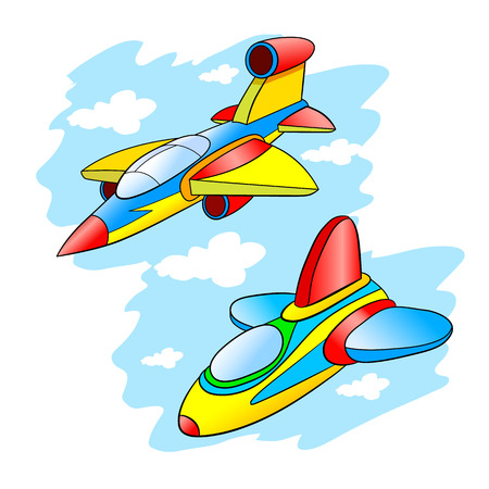stealth: Two cartoon stealth fighter flying in the cloudy sky.