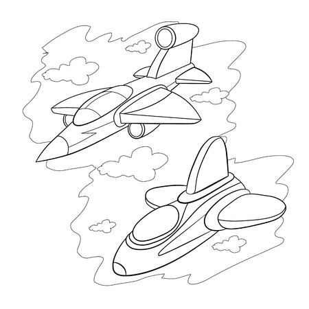 stealth: Coloring book. Two cartoon stealth fighter flying in the cloudy sky.