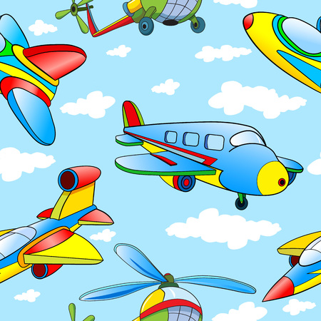 kids toys: Seamless pattern with cartoon planes and helicopter on background Cloudy Skies.