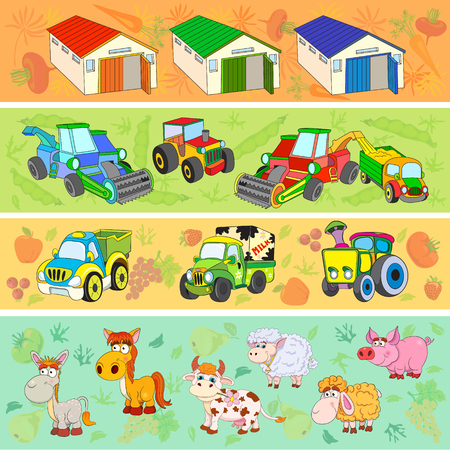 grain fields: Set of vector cartoon illustration of Agriculture and Farming.