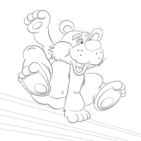 somersault: Cartoon bear - tracer in the free jump an obstacle. Coloring book. Illustration