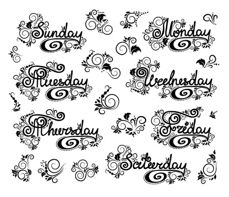 thursday: Doodles cartoon curls ornamental floral design days of the week. English lettering. Sunday start.