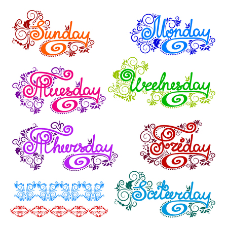 Doodles cartoon curls ornamental floral design days of the week. English lettering. Sunday start.
