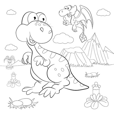 Coloring book. Funny dinosaurs in a prehistoric landscape. Cartoon and vector isolated character on background.
