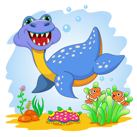 prehistoric fish: Funny dinosaur in a sea. Cartoon and vector isolated character on background.