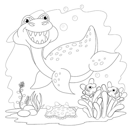 clam illustration: Coloring book. Funny dinosaur in a sea. Cartoon and vector isolated character on background.