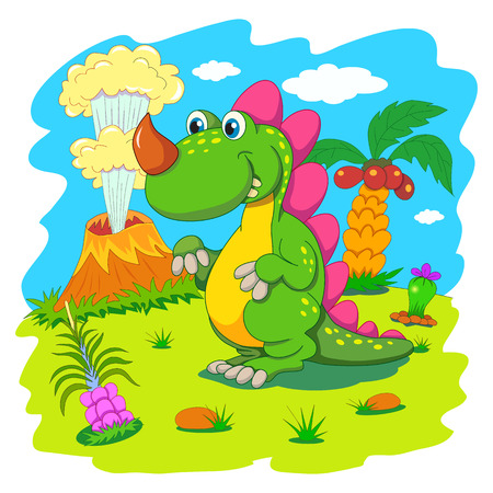 animal background: Funny dinosaur in a prehistoric landscape. Cartoon and vector isolated character on background.
