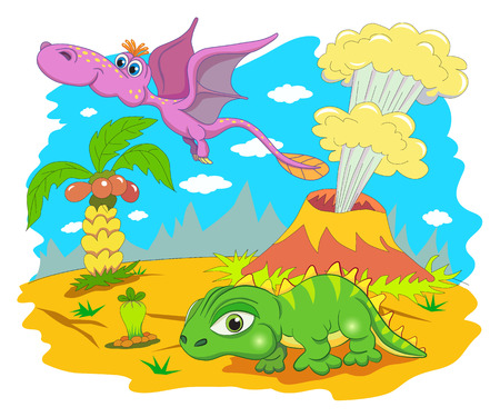volcano: Funny dinosaur in a prehistoric landscape. Cartoon and vector isolated character on background.