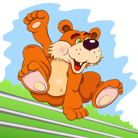 obstacle: Cartoon bear - tracer in the free jump an obstacle.