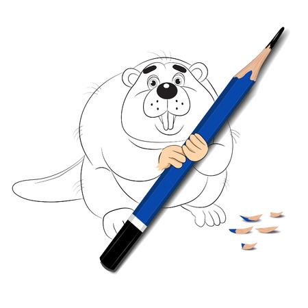 fantasize: Funny cartoon beaver drawn on white paper chews realistic pencil. Illustration