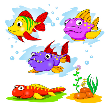 sea fish: Cartoon set of funny color fishes.