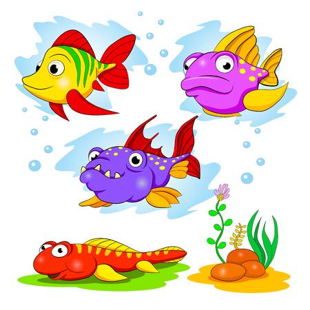 peces caricatura: Conjunto de dibujos animados de peces de colores divertidos.