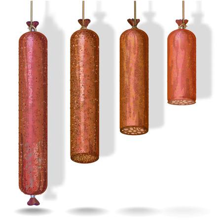 Illustrazione vettoriale realistico di deliziose salsicce e salami appesi alle corde. Vettoriali