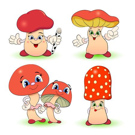 edibles: Set of cartoon funny mushrooms.