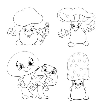 edibles: Set of cartoon funny mushrooms. Coloring book.