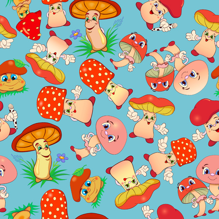 edibles: Seamless pattern with cartoon funny mushrooms.