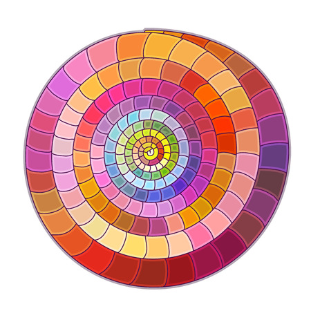 Mosaic colored spirals on white background.