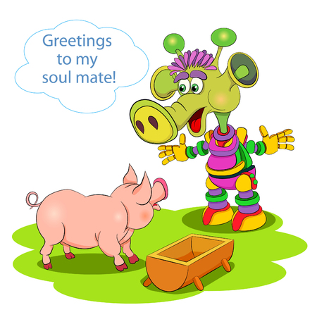 brain mysteries: Comic cartoon picture. Martian meets pig - brothers in mind.