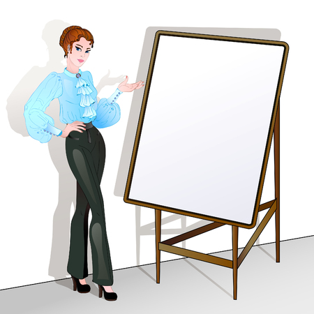 artist's canvas: Cute business woman points to the easel-stand with empty blank for your text. Illustration