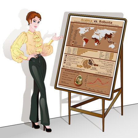arabica: Cute business woman points to the easel-stand with infographics on the cultivation of coffee two varieties - Arabica and Robusta.