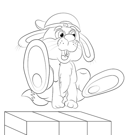 somersault: Cartoon hare - tracer in the free jump an obstacle of wall. Coloring book.