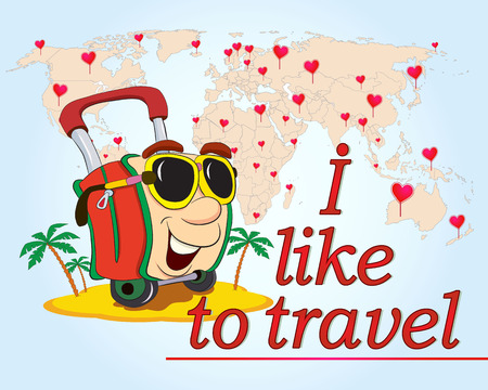 funny travel: Cartoon funny bag in sunglasses like to travel the world. Vector illustration.