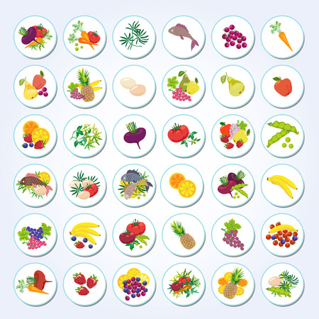 Set of icons of diet food: fruits, vegetables, fish, greens.