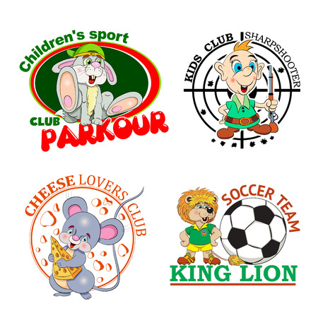 Zestaw czterech kolorów logo klubów dziecięcych z postaci z kreskówek na białym tle.
