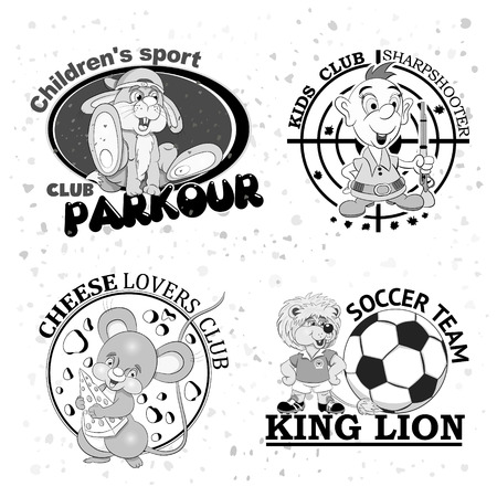sharpshooter: Set of four logos for childrens clubs with cartoon characters on white grunge  background.