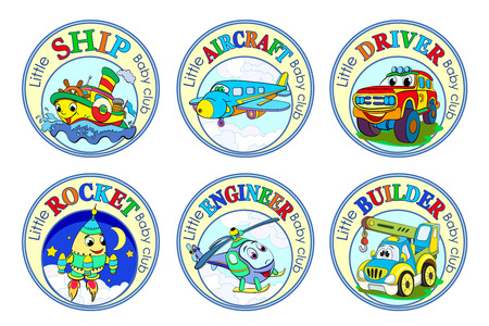 Set of six logos for children's clubs with cartoon characters on white background.