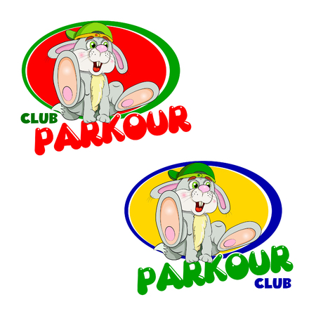 parkour: The emblem of the club parkour in two color options. Cartoon hare - tracer in the free jump an obstacle  in the form of the word Parkourl.