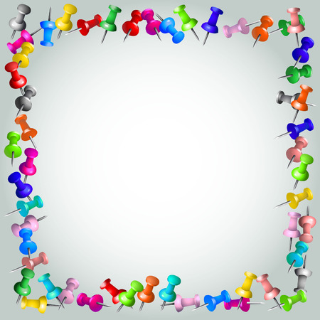 Blank frame of colored drawing pins.
