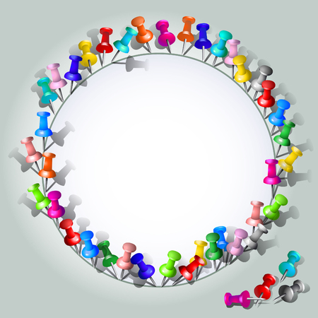drawing pins: Blank form with a round frame of colored drawing pins.