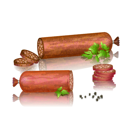 black pepper: Realistic vector illustration of delicious sausages and salami, sliced slices with herbs and black pepper Illustration